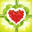 Heart of strawberry with leafs