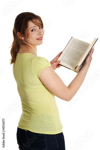 Teen woman reading book