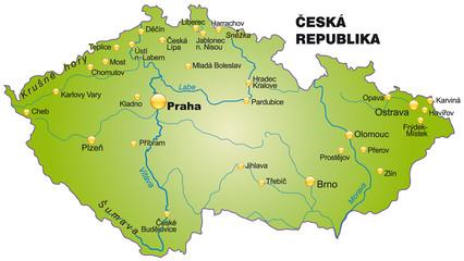 Inselkarte von Tschechien mit Hauptstädten in grün