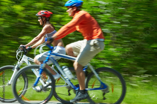 Cyclists in motion