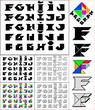 Tangram font, fixed-height alphabet, letters F,G,H,I,J, 5 styles