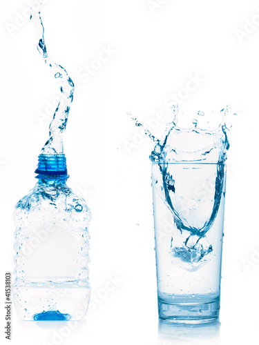 water glass and bottle isolated on white