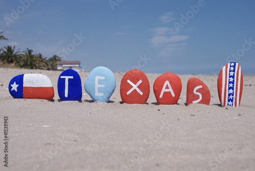 Texas, state of USA on colourful stones