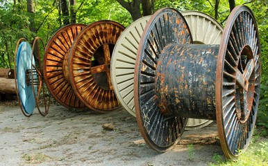collection of empty industrial cable reels