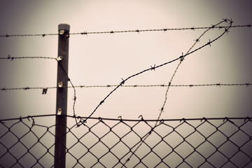 barbed wire and chain link fence
