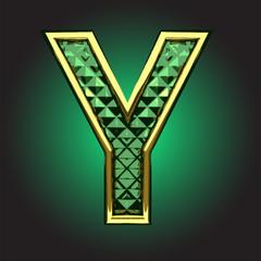 Vector golden figure with emerald