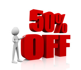 Sale promotion text 50 percent off