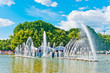 Leinwanddruck Bild - Fountain in Gorky Park, Moscow