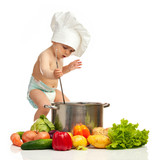 Fototapety Little boy in chef's hat with ladle, casserole, and vegetables