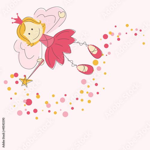Fototapeta Vector illustration of a fairy with magic stick