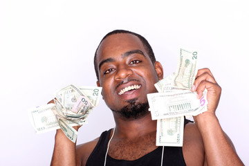 Portrait of a man holding cash.