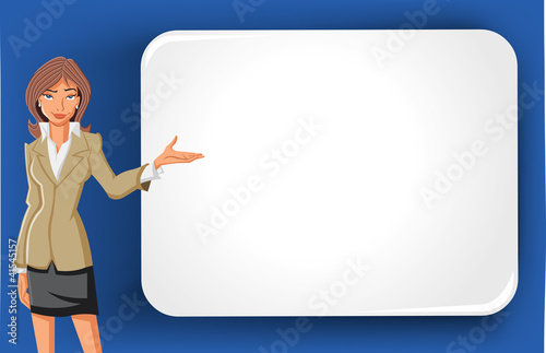 Cartoon business woman and white billboard with empty space