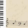 background musicale - tastiera e pentagramma invecchiato