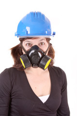 woman with safety protection, gas mask and helmet