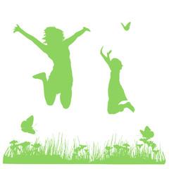 mère et fille sautant