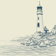 Lighthouse on seashore vector sketch