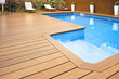 canvas print picture - Blue swimming pool with  wood flooring-Piscina madera