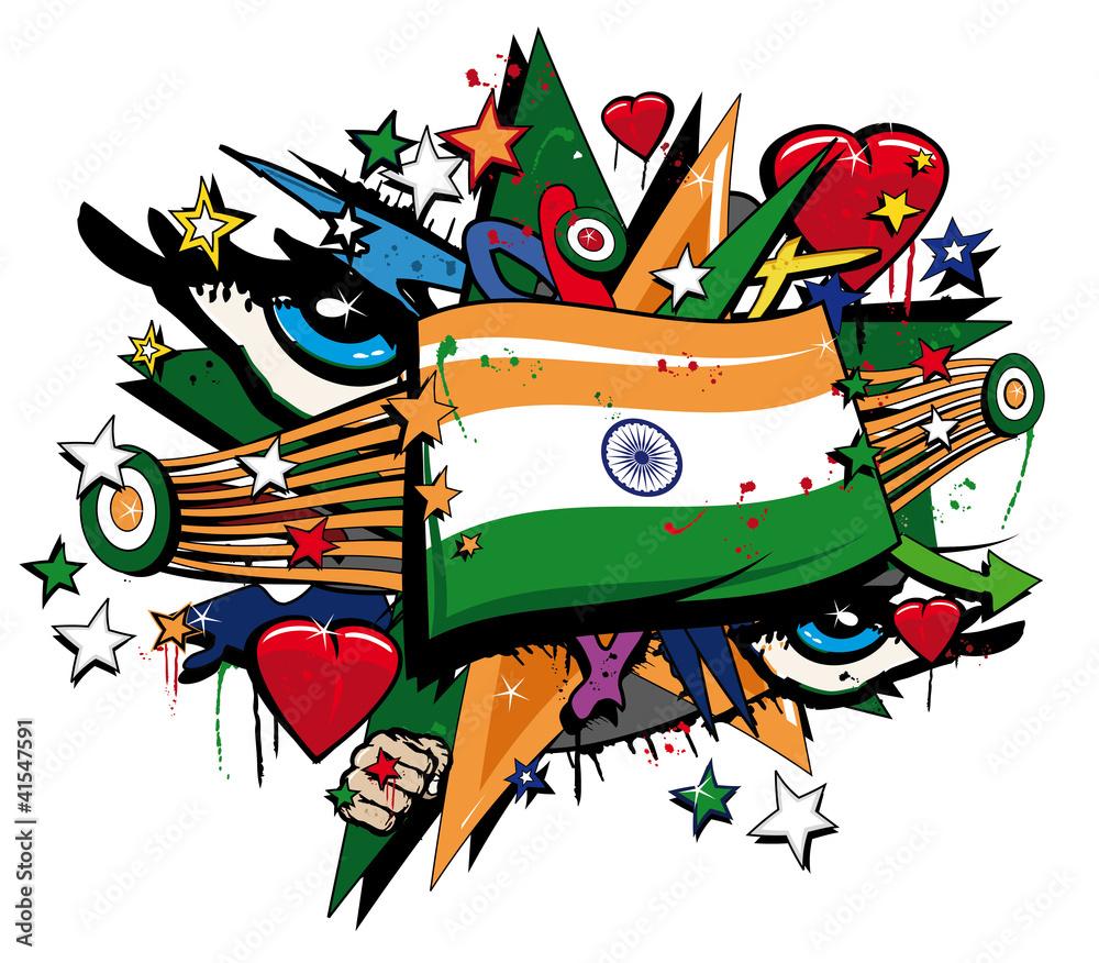 Sticker wall graffiti - India Flag Graffiti Pop Art Illustration Wall Sticker