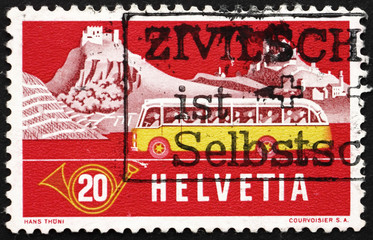 Postage stamp Switzerland 1953 Alpine Post Bus, Summer Backgroun