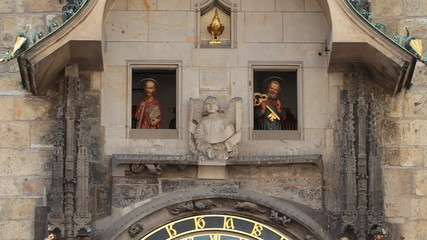 figures above the astronomical clock in Prague