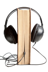 Book wired in to headphones
