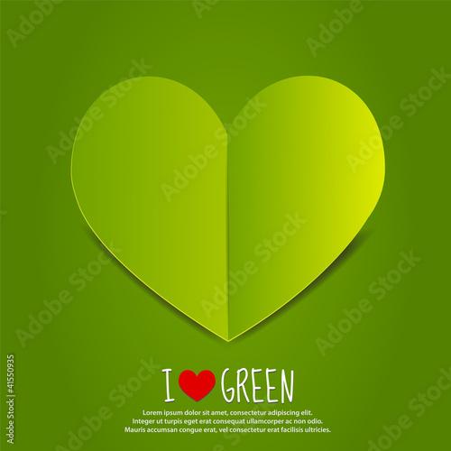 Green Paper Heart