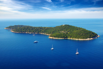 Picturesque  seascape with cruise yachts. Dubrovnik, Croatia