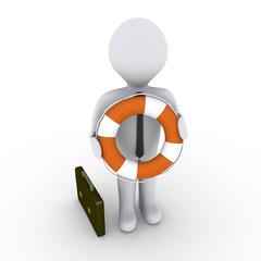 Businessman holding lifebuoy