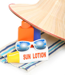 Beach equipment. UV protection concept.