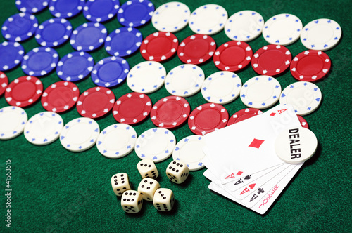 poker chips forming the American flag