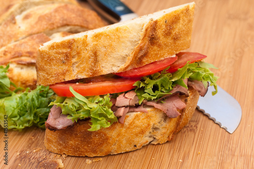 Fresh roast beef and crusty bread sandwich.