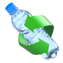 Plastic bottle recycling concept
