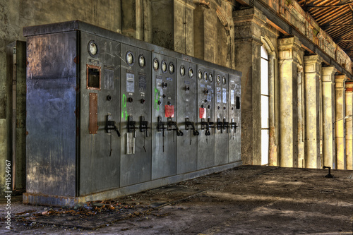 Electrical control panel in abandoned coal mine
