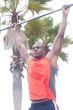 portrait of an African American athlete doing pullups