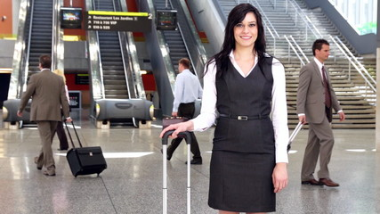 Business woman at the airport.