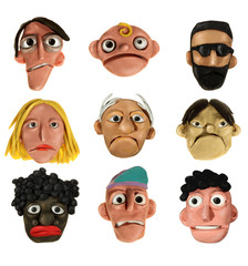 People characters - plasticine heads collection