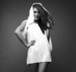 beauty woman in a white dress.