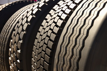 Tires in row perspective