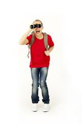 Happy man with a binocular