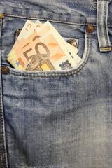 Jeans e tasca anteriore destra con euro