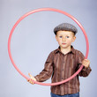 Boy with hoop. Retro portrait.