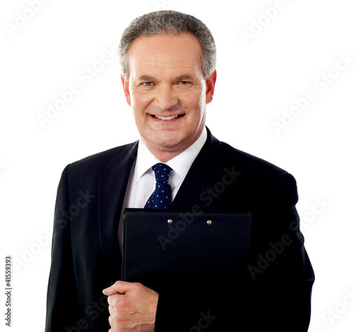 Business person holding document file