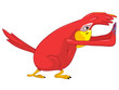 Funny Parrot. Pushing.