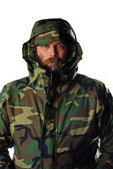 Man in camouglage jacket