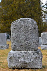 Unmarked rustic tombstone