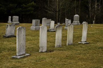 Five tombstones in a graveyard.