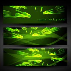 vector green abstract banner set 5