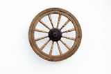 Vintage Spinning Wheel on White Wall