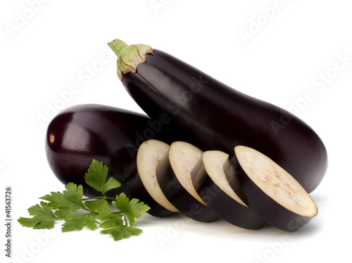 eggplant or aubergine and parsley leaf