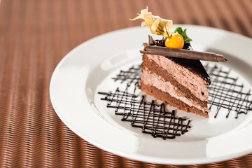 Delicious chocolate cake with physalis